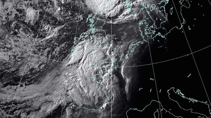 A satellite image of the aftermath of Hurricane Bertha approaching the UK