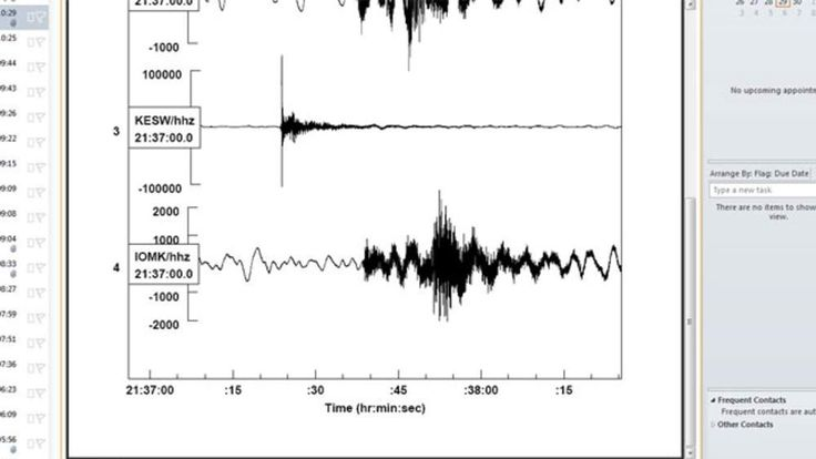 A seismograph of the earthquake in Patterdale, Cumbria.