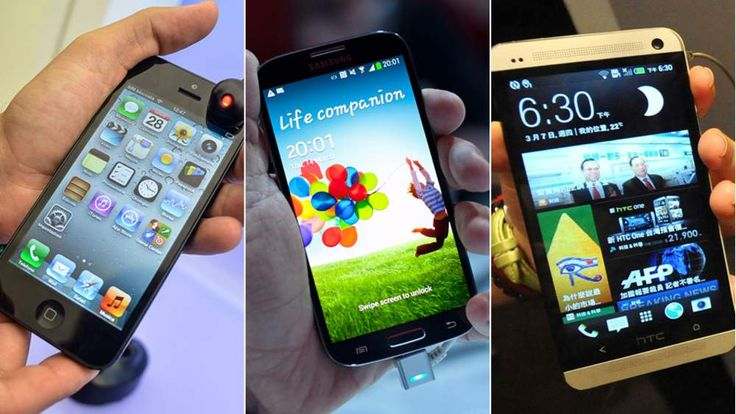 Some of the latest handsets from Apple, Samsung and HTC.