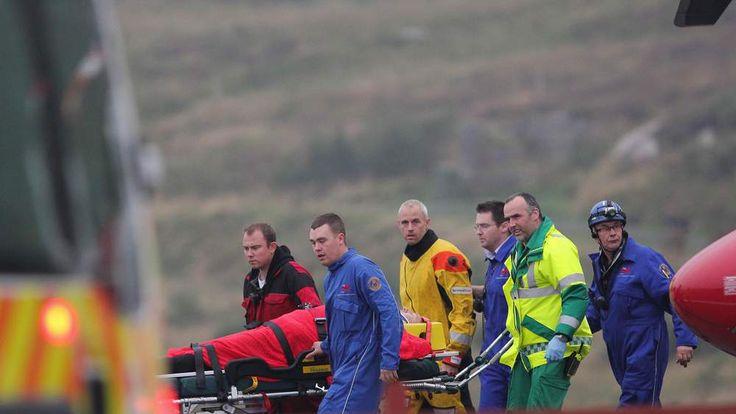 A victim is stretchered