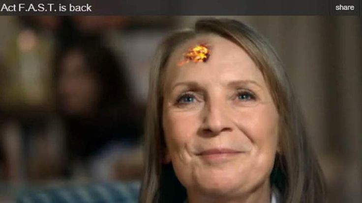 An advert showing a woman at the start of a stroke