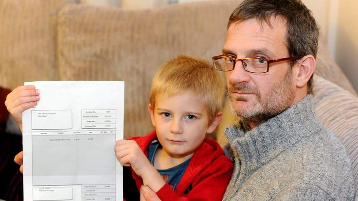 A five-year-old has been handed an invoice and his parents threatened with court action - for missing his friend's birthday party