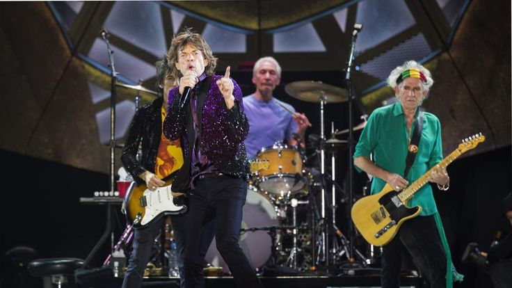Ronnie Wood, Mick Jagger, Charlie Watts and Keith Richards on stage