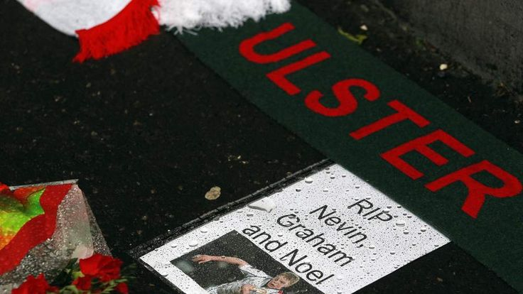 Tributes are placed outside Ravenhill Stadium for Ulster and Irish Rugby player Nevin Spence