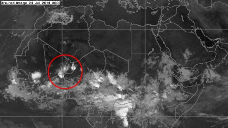 Weather over Africa at midnight July 24th. Pic: Met Office