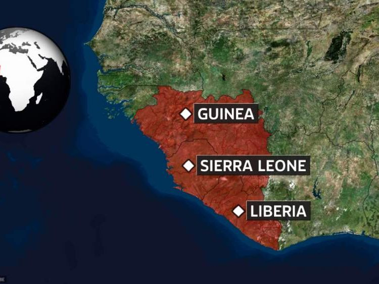 Map showing countries affected by ebola outbreak