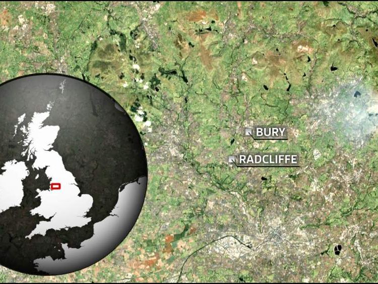 Map showing Radcliffe and Bury, Greater Manchester