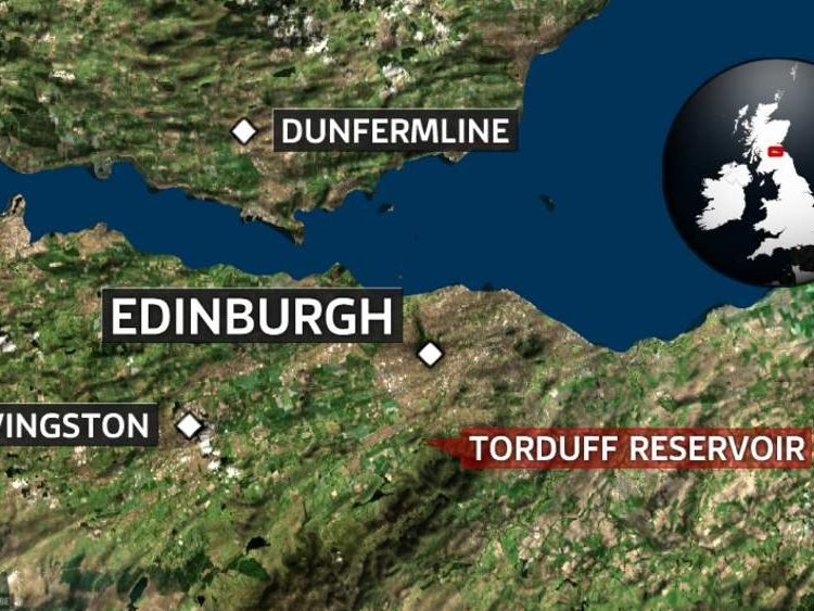 A map showing the location of Torduff Reservoir, Edinburgh