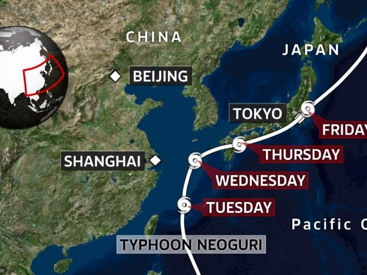 A map showing the predicted track of Typhoon Neoguri