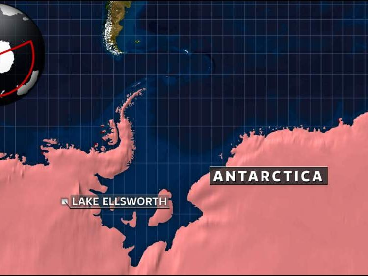 A map of Antarctica and Lake Ellsworth