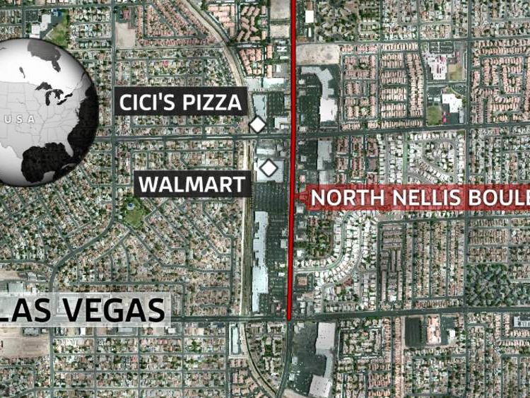 A map showing the location of the North Nellis Boulevard, Las Vegas