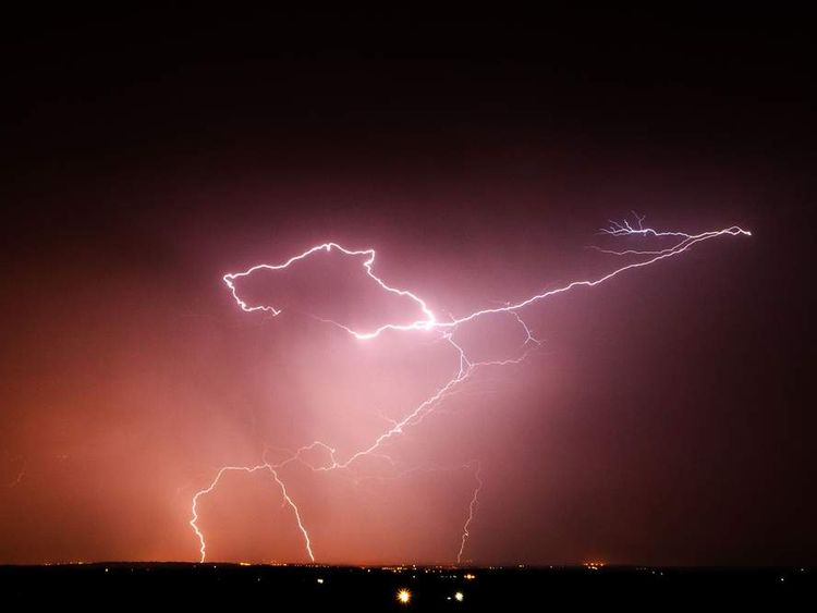 Lightning strikes over the Vale of Belvoir, Leicestershire.