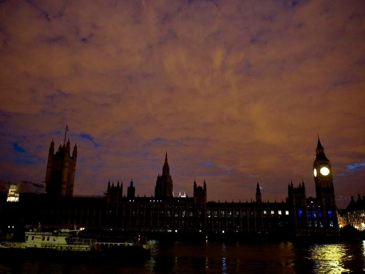 Houses of Parliament after lights turned off