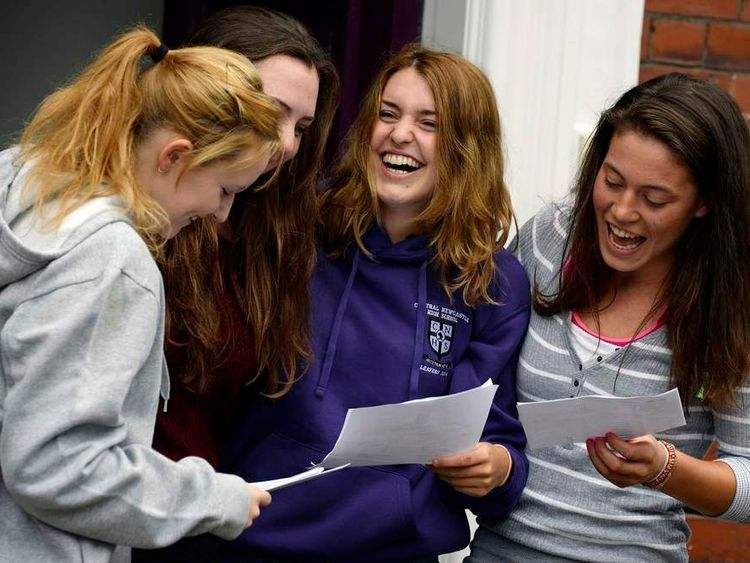 Girls from Newcastle High School in Jesmond, Newcastle, celebrate their A-level results