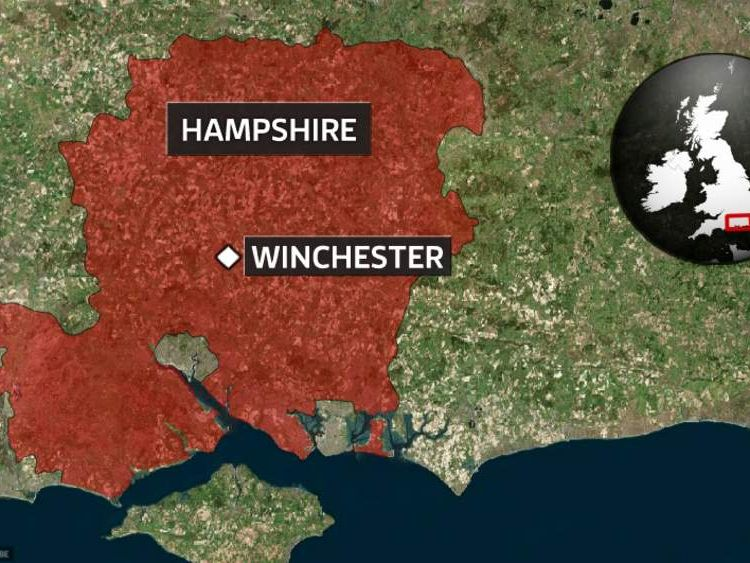 A map Of Winchester in Hampshire