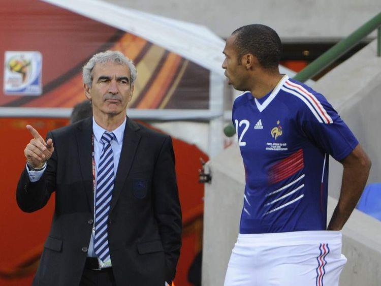 Raymond Domenech and Thierry Henry