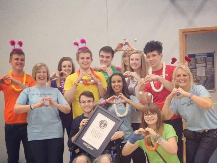 Stephen Sutton's Guinness World Record for the most people making a heart-shaped hand gesture.