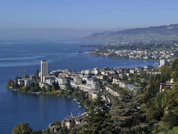 The city of Montreux on the shore of Lake Geneva, Switzerland