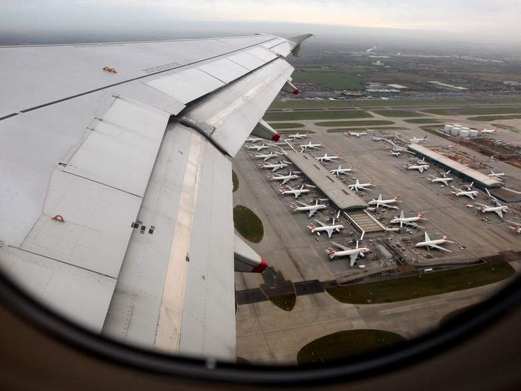 The view from a passenger window over Heathrow Airport.