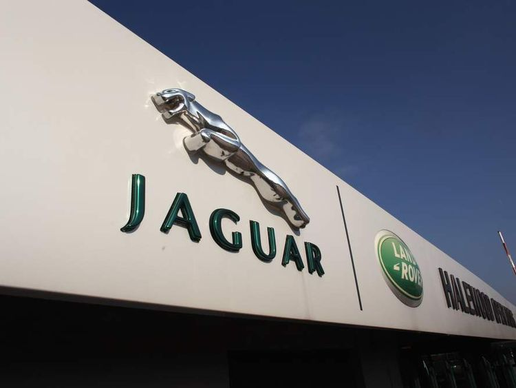 The Jaguar motif stands outside the Jaguar Land Rover Halewood assembly plant on March 2, 2011 in Halewood, England.