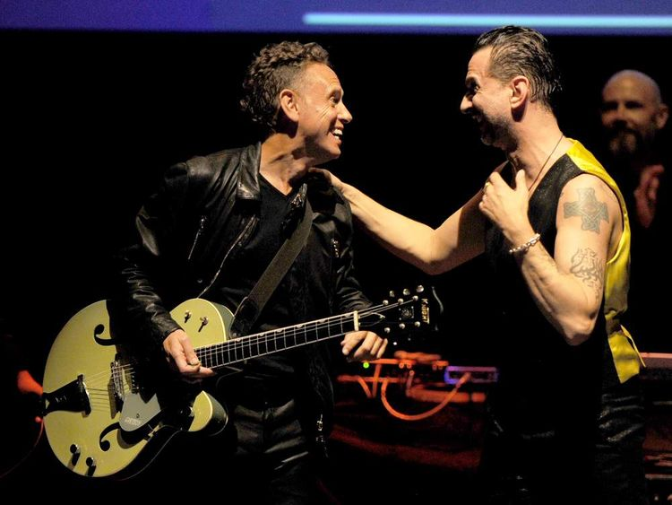 Martin Gore (L) and Dave Gahan of Depeche Mode