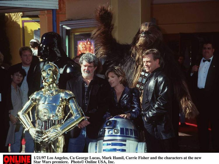 George Lucas, Carrie Fisher and Mark Hamill