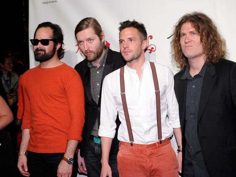 Ronnie Vannucci Jr, Mark Stoermer, Brandon Flowers and Dave Kruning of The Killers