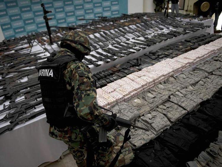 Mexican marine with Zetas cache