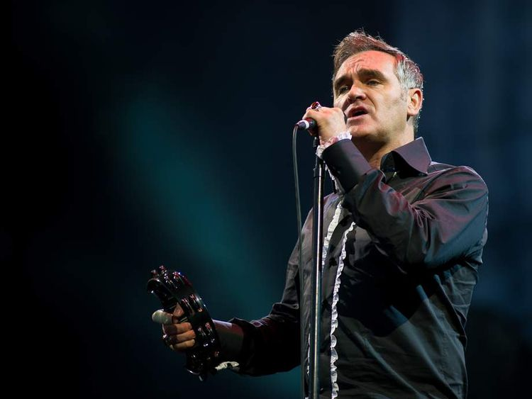 Morrissey performs live on the pyramid stage during the Glastonbury Festival at Worthy Farm, Pilton on June 24, 2011 in Glastonbury, England.