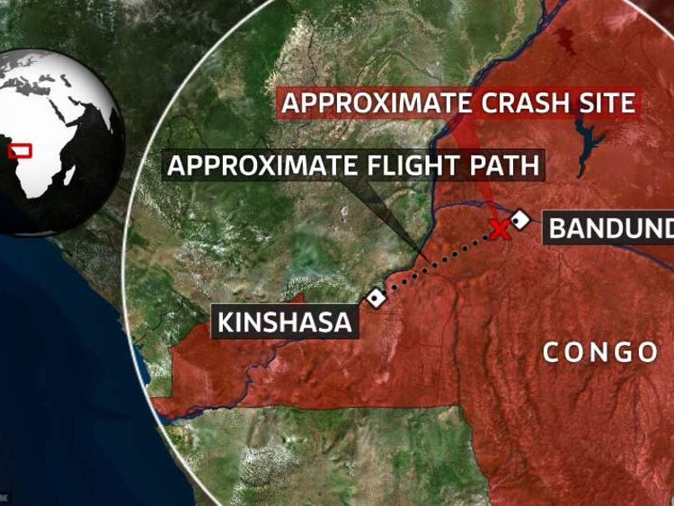 A map showing the location of Kinshasa and Bandundu in Congo