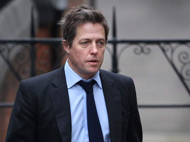 Hugh Grant arriving at the Leveson Inquiry