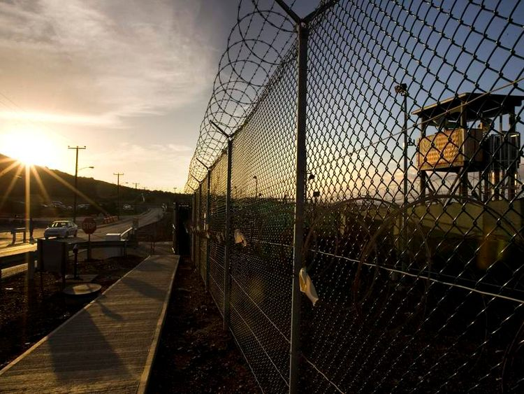 A barbed wire fence at Guantanamo Bay