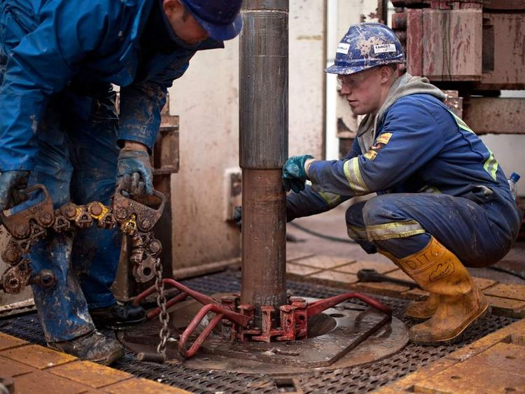 Engineers on the drilling platform of the Cuadrilla shale fracking facility in Preston
