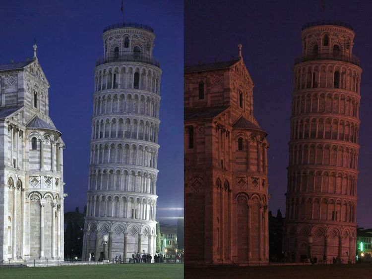 This combo of pictures shows the leaning
