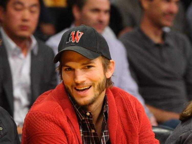 Ashton Kutcher at a basketball game in LA
