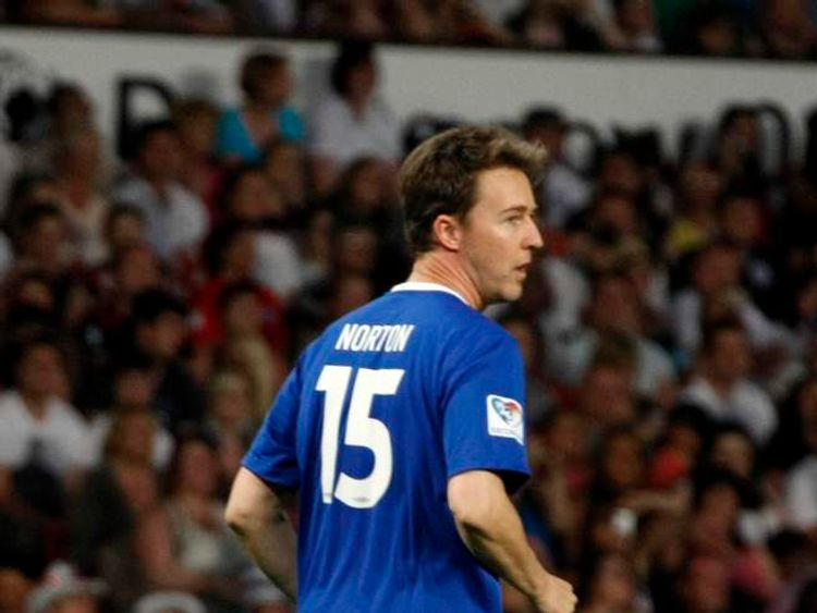 Edward Norton plays in UNICEF fundraising match at Old Trafford