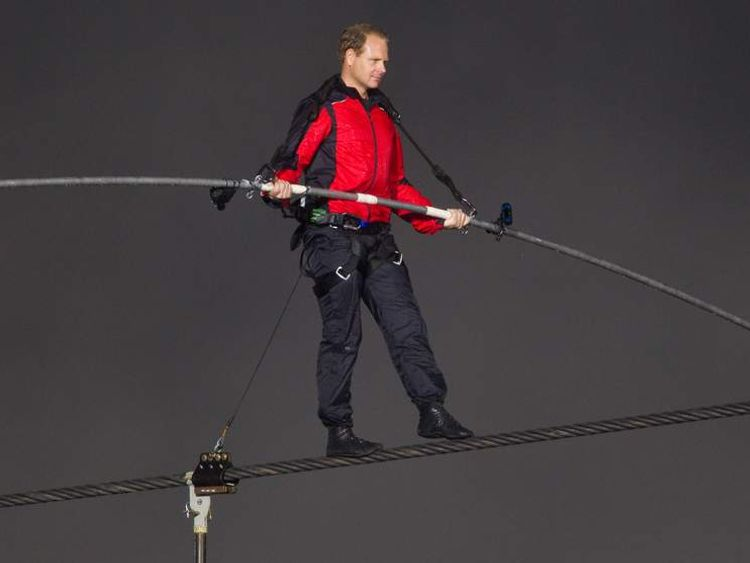 Nik Wallenda Attempts To Cross Niagara Falls On A Tightrope