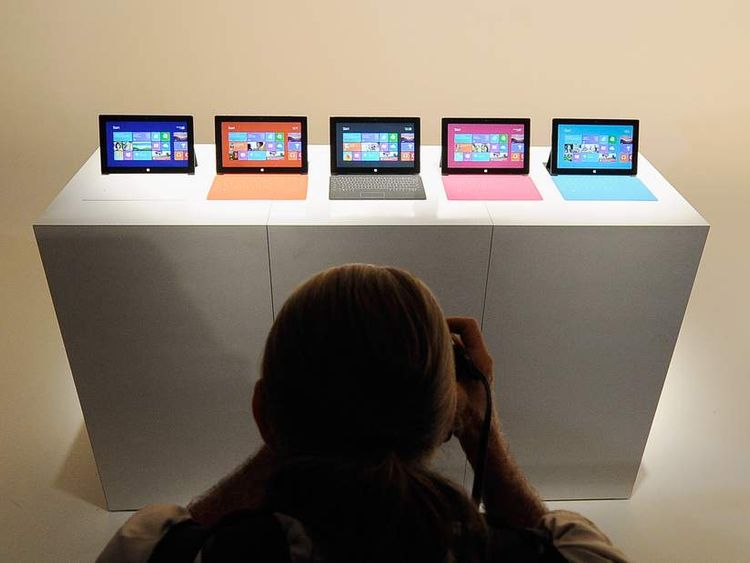 The Microsoft tablet Surface is unveiled during a news conference at Milk Studios on June 18, 2012