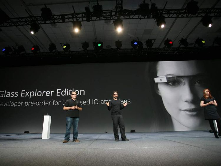 Sergey Brin (C), co-founder of Google and designer of Google Glass introduce the product