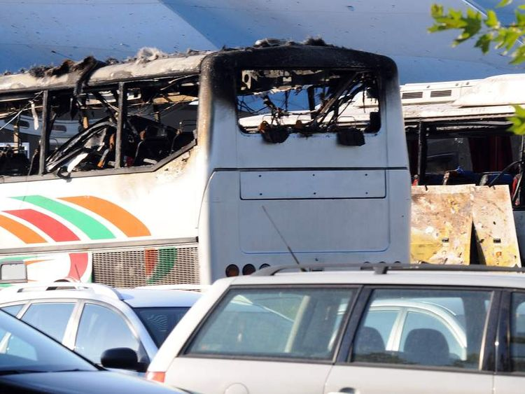 Destroyed buses after a bomb explosion at Bourgas airport