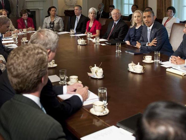 US President Barack Obama and cabinet