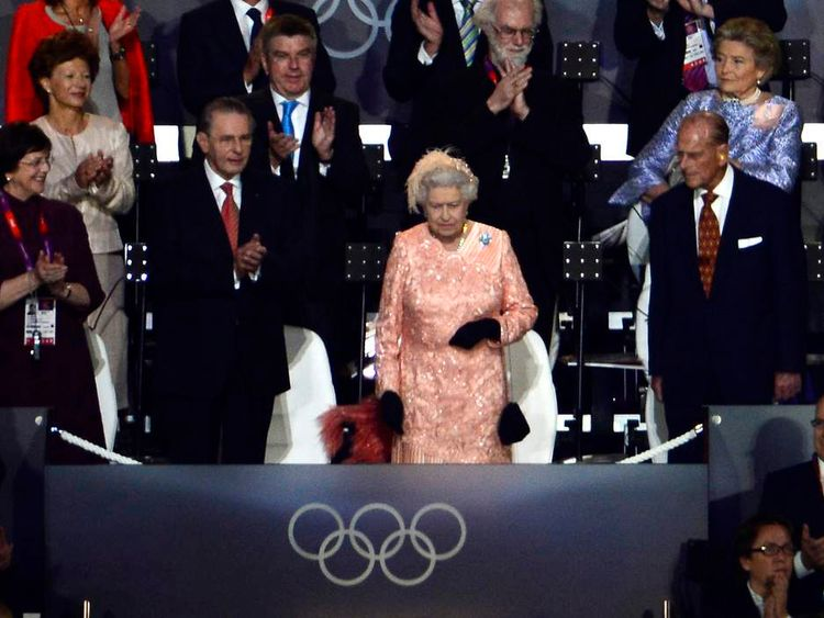 Britain's Queen Elizabeth II arrives during the Opening Ceremony of the London 2012 Olympic Games.