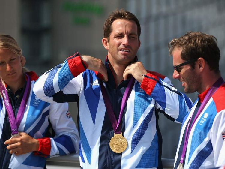 Men's Finn Sailing fold medalist Ben Ainslie at a news conference in London.