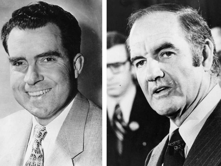 In this composite image a comparison has been made between former US Presidential Candidates Richard Nixon (L) and George McGovern.
