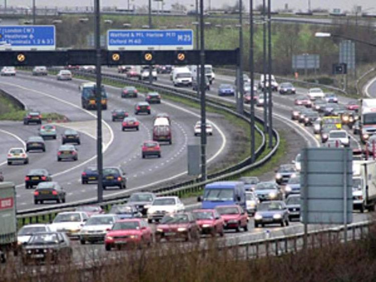 M25 and M4 junction near Heathrow
