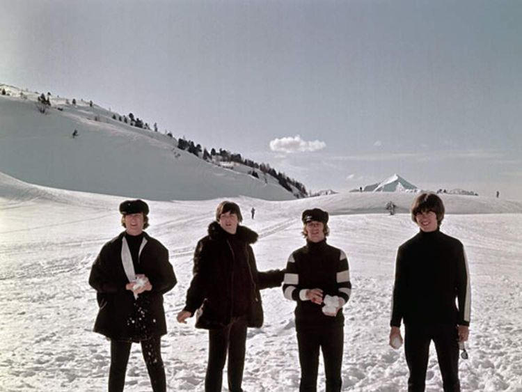 Beatles at filming of second film Help! in Obertauern, Austria
