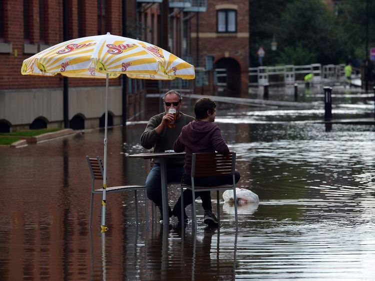 A flooded street in York after torrential rain in late September.