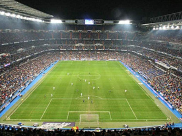 Aerial view of Real Madrid's Santiago Bernabeu stadium
