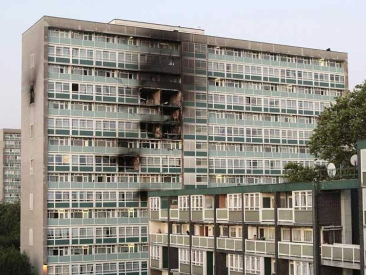 The scene Camberwell, south London, after a fire ripped through a tower block
