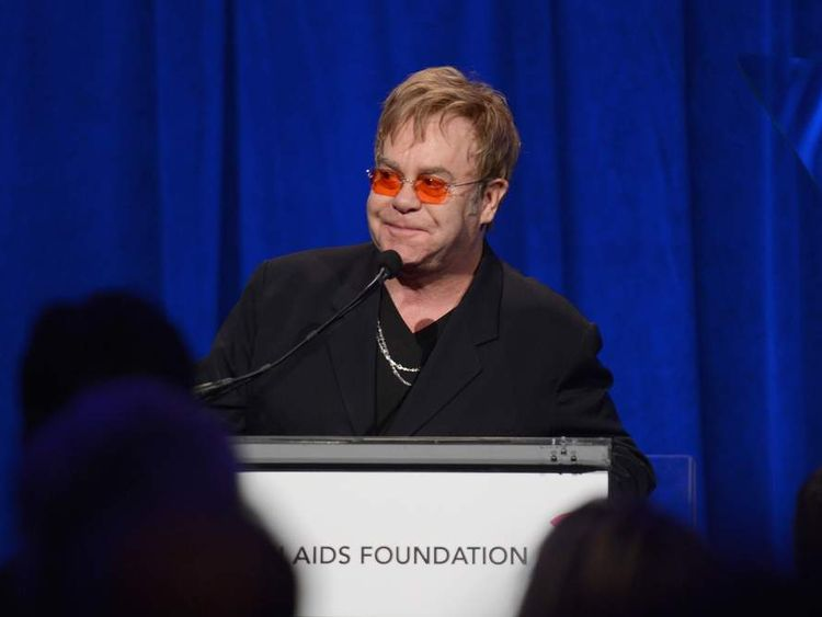Sir Elton John speaking at his AIDS Foundation benefit in New York